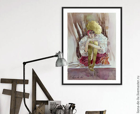 Акварель, картина , живопись ню Акварельная картина `Ожидание` Живопись   LIONA-DE-LIV