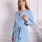 Одежда handmade. Livemaster - original item My Lady`s summer long cardigan, blue trench dress with belt. Handmade.