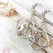 Украшения handmade. Livemaster - original item Earrings Space large English lock silver - earrings flashy. Handmade.