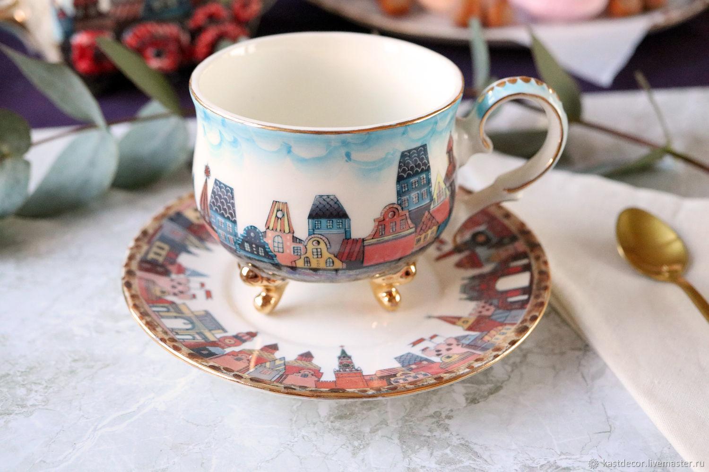 teacups: Porcelain tea pair ' Old town', Single Tea Sets, Moscow,  Фото №1