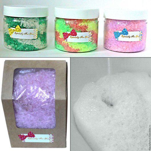 Соль для ванны ручной работы. Ярмарка Мастеров - ручная работа. Купить Аромасоль с пеной для ванны. Handmade. Комбинированный, ароматическая соль
