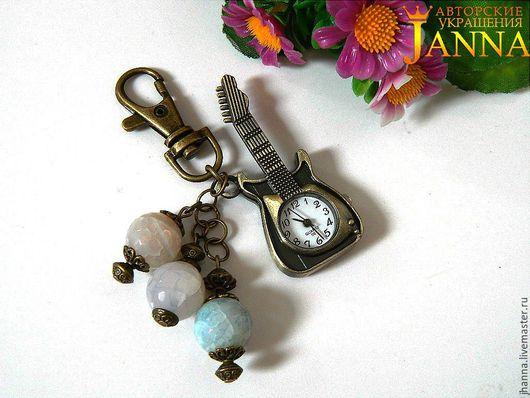 """Брелоки ручной работы. Ярмарка Мастеров - ручная работа. Купить Часы-брелок """"Гитара"""" в античной бронзе. Handmade. Часы-брелок"""
