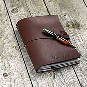 Канцелярские товары handmade. Livemaster - original item A5 leather notebook with personalization with replaceable notebooks. Handmade.