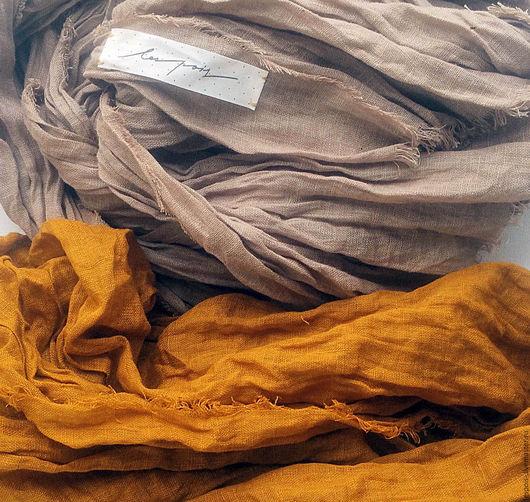 Шарфы и шарфики ручной работы. Ярмарка Мастеров - ручная работа. Купить Льняной шарф. Handmade. Бежевый, золотой, шарф женский