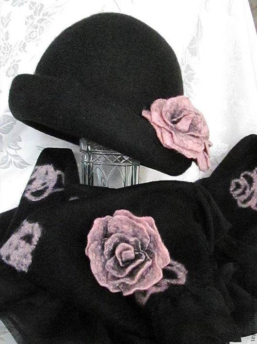 """Шляпы ручной работы. Ярмарка Мастеров - ручная работа. Купить шляпка  валяная """" Дикая роза"""" и палантин. Handmade."""