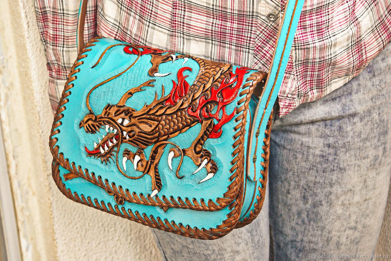 Leather women's bag 'Japanese furious dragon', Classic Bag, Krasnodar,  Фото №1