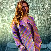 """Одежда ручной работы. Ярмарка Мастеров - ручная работа Пальто - кардиган """"Сирень. Клетка"""". Handmade."""
