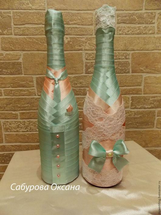 Свадебные аксессуары ручной работы. Ярмарка Мастеров - ручная работа. Купить Свадебное шампанское. Handmade. Мятный, мятная свадьба