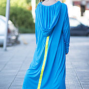 Одежда handmade. Livemaster - original item Long hooded cotton dress - DR0235TR. Handmade.