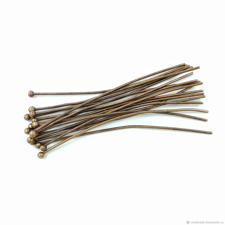 50 PCs. Pins with a ball 0,6h42 mm copper m-l brass (art. 3018 ...