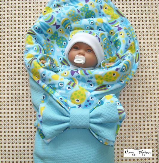 """Для новорожденных, ручной работы. Ярмарка Мастеров - ручная работа. Купить Комплект на выписку """"Рыбки"""". Handmade. Голубой, комплект на выписку"""