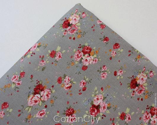 Шитье ручной работы. Ярмарка Мастеров - ручная работа. Купить Хлопковая ткань Три цвета роз фон серый. Handmade.