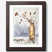 """Картины и панно ручной работы. Ярмарка Мастеров - ручная работа Картина акварелью """"Зимний букет"""". Handmade."""