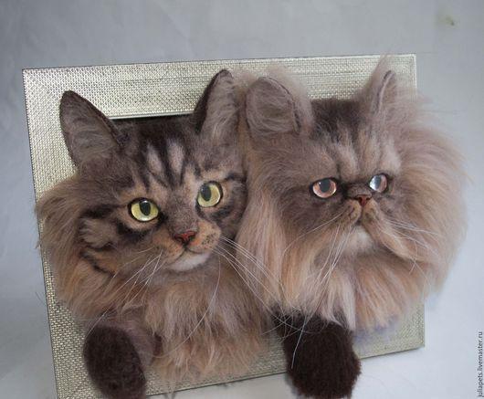 Животные ручной работы. Ярмарка Мастеров - ручная работа. Купить Панно с кошками перс и бобтейл. Handmade. Коричневый, домашние животные