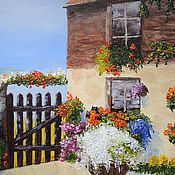 """Картины и панно ручной работы. Ярмарка Мастеров - ручная работа """"Средиземноморье: Цветущий дворик"""" Картина маслом. Handmade."""