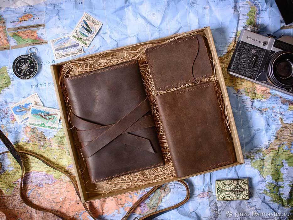 Подарочный набор аксессуаров из кожи -FLAGMAN- цвет Шоколад, Именные сувениры, Тула,  Фото №1