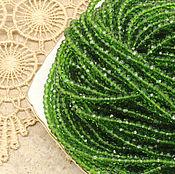 Материалы для творчества ручной работы. Ярмарка Мастеров - ручная работа Бусины рондели 3х2 мм Весенняя зелень хрустальные. Handmade.