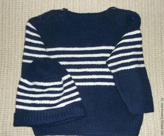 Одежда для мальчиков, ручной работы. Ярмарка Мастеров - ручная работа. Купить костюмчик для мальчика. Handmade. Тёмно-синий, костюмчик спицами