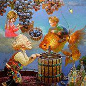 """Картины и панно ручной работы. Ярмарка Мастеров - ручная работа Детская картина маслом """"Сказки на ночь"""" 40/50см. Handmade."""