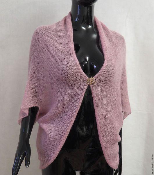 Болеро, шраг ручной работы. Ярмарка Мастеров - ручная работа. Купить Болеро-накидка-шарф из кид-мохера, нежно-розовый. Handmade.