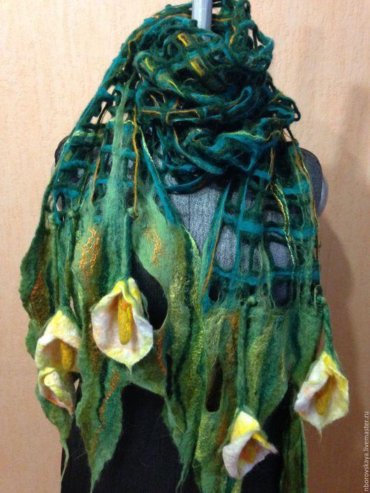 Шарфы и шарфики ручной работы. Ярмарка Мастеров - ручная работа. Купить Шарф-палантин валяный из шерсти Великолепные каллы. Handmade.