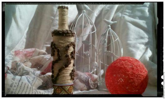Вазы ручной работы. Ярмарка Мастеров - ручная работа. Купить Бутылка декоративная. Handmade. Стеклянная бутылка, бежевый цвет