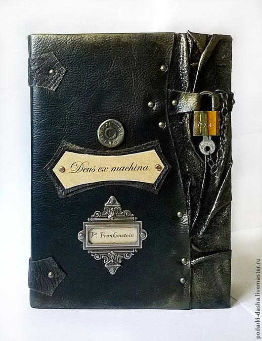 """Ежедневники ручной работы. Ярмарка Мастеров - ручная работа. Купить Ежедневник мужской """"Франкенштейн"""". Handmade. Кожаный, черный, замок металлический"""