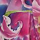 """Шали, палантины ручной работы. Шелковый батик  шарф """"Лилии.Маджента"""", роспись шелка. EshaCraft          Евгения Бабанова. Интернет-магазин Ярмарка Мастеров."""