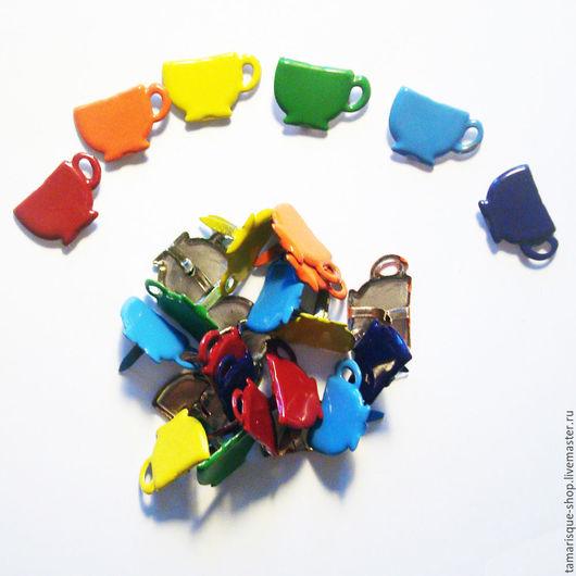 Открытки и скрапбукинг ручной работы. Ярмарка Мастеров - ручная работа. Купить Брадс «Цветные чашки» набор. Handmade. Брадсы, Скрапбукинг
