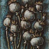 """Картины ручной работы. Ярмарка Мастеров - ручная работа Картина """"Маковые коробочки"""" цветы, маки, пастель. Handmade."""