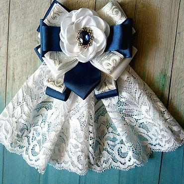 Accessories handmade. Livemaster - original item Blue and white bow brooch with frill and flower design. Handmade.