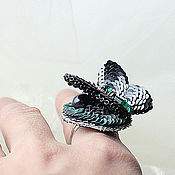 """Украшения ручной работы. Ярмарка Мастеров - ручная работа Вышитое кольцо """"Butterfly"""". Старинный тюль, пайетки, канитель, стразы!. Handmade."""