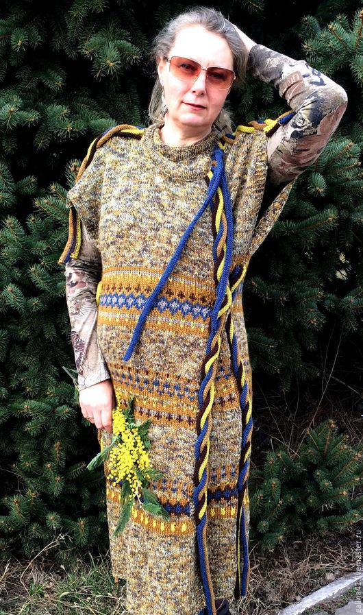 """Верхняя одежда ручной работы. Ярмарка Мастеров - ручная работа. Купить Пальто- жилет """"Мексиканка"""". Handmade. Коричневый, косы"""