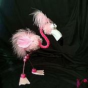 Тедди Зверята ручной работы. Ярмарка Мастеров - ручная работа Фламинго Ян. Игрушка из перьев. Handmade.
