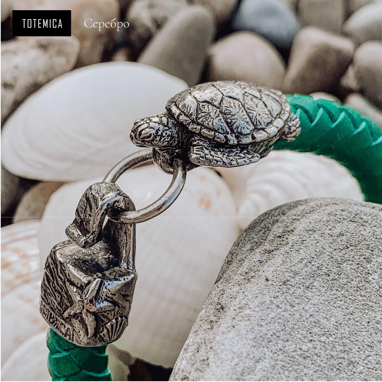 Silver bracelet Turtle, leather, Braided bracelet, Moscow,  Фото №1