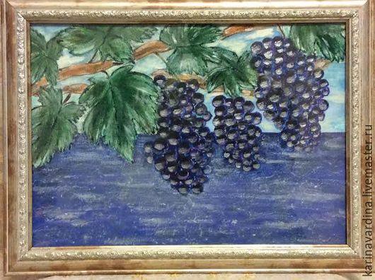 """Пейзаж ручной работы. Ярмарка Мастеров - ручная работа. Купить Картина """"Виноградная лоза"""". Handmade. Тёмно-фиолетовый, виноград, картина"""