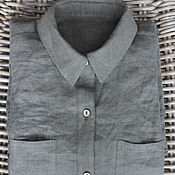 Shirts handmade. Livemaster - original item Women`s shirt made of 100% linen. Handmade.
