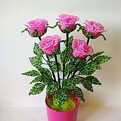 Букеты ручной работы. Ярмарка Мастеров - ручная работа Розовые розы из бисера. Handmade.