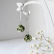 Украшения handmade. Livemaster - original item Earrings from resin with forest moss. Handmade.