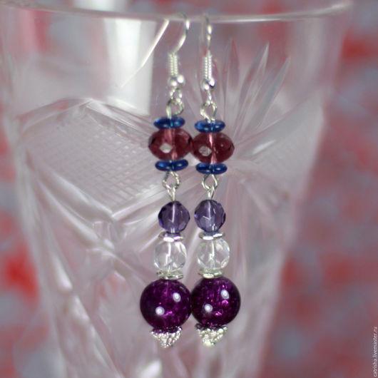 Длинные серьги Фиалки, фиолетовые серьги, подарок девушке бохо лиловый, бохо серьги фиолетовый, бохо серьги лиловый, бохо серьги в подарок девушке, длинные бохо серьги, фиолетовые бохо серьги, бохо