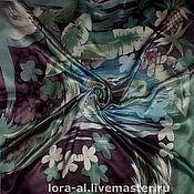 Аксессуары ручной работы. Ярмарка Мастеров - ручная работа Атласный  платок  Тропики. Handmade.