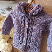 handmade. Livemaster - original item Cardigan: Children`s knitted blouse with a hood made of wool lilac. Handmade.