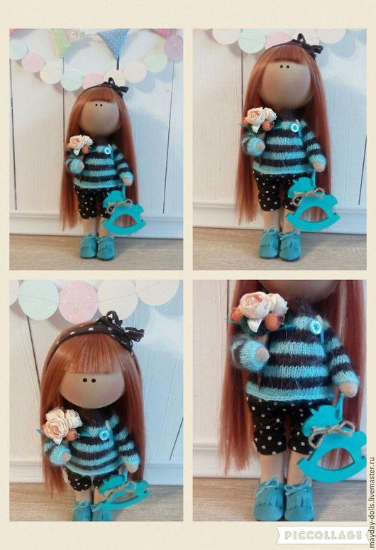 Куклы тыквоголовки ручной работы. Ярмарка Мастеров - ручная работа. Купить Интерьерная текстильная кукла большеножка Леночка. Handmade. Бирюзовый
