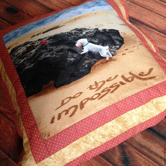 """Текстиль, ковры ручной работы. Ярмарка Мастеров - ручная работа. Купить Подушка с собакой в стиле """"пэчворк"""". Handmade. Подушка"""