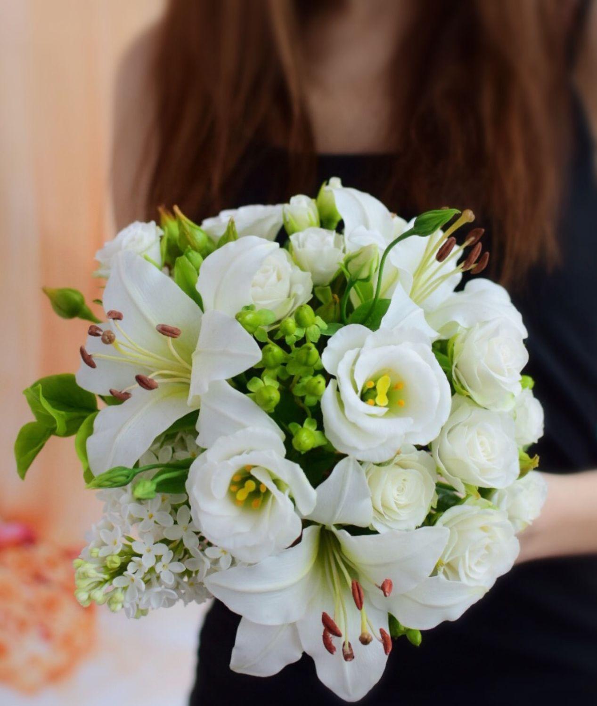 Белый букет с лилиями Мечта из полимерной глины (холодного фарфора), Букеты, Челябинск, Фото №1