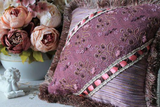 купить подарок/купить подушку в интернете/подушка на кровать купить/ежевичный/подушка с вышивкой/Handmade/