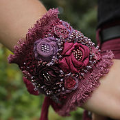 Cuff bracelet handmade. Livemaster - original item Cuff bracelet textile in boho style in purple reflections of dawn. Handmade.