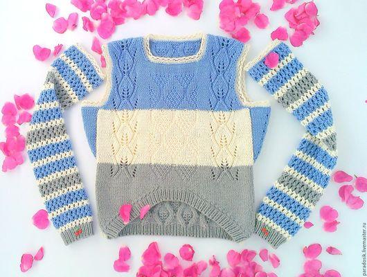 Кофты и свитера ручной работы. Ярмарка Мастеров - ручная работа. Купить Джемпер со съёмными рукавами-митенками. Handmade. Синий