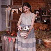 Одежда ручной работы. Ярмарка Мастеров - ручная работа Льняное платье длинное для будущей мамы Арт.07, серое. Handmade.