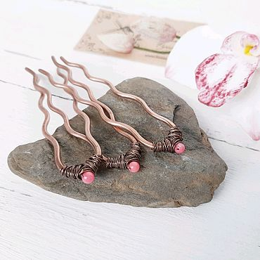 Decorations handmade. Livemaster - original item Copper hairpins Hairpins Wire coral Copper Boho Set. Handmade.